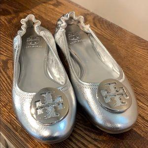 Silver Tory Burch Flats